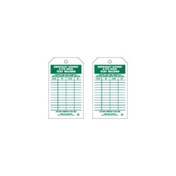 BRADY 86670 Emer Sh & Eye Wash Test Rcd Tag, PK100