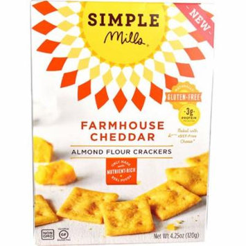 Simple Mills Almond Flour Crackers Gluten Free Farmhouse Cheddar -- 4.25 oz pack of 1