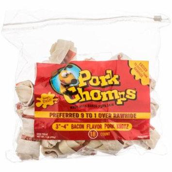 Pork Chomps Knotz Pork Skin Dog Treats - Bacon Flavor Medium - 18 Count - (3\