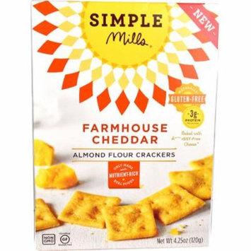 Simple Mills Almond Flour Crackers Gluten Free Farmhouse Cheddar -- 4.25 oz pack of 2