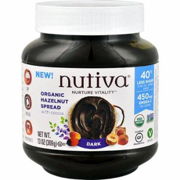 Nutiva Organic Hazelnut with Cocoa Spread Gluten Free Dark -- 13 oz pack of 2