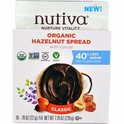 Nutiva Organic Hazelnut Spread with Cocoa Gluten Free Classic -- 10 Packets pack of 3