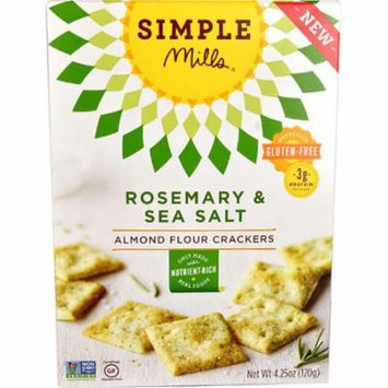 Simple Mills Almond Flour Crackers Gluten Free Rosemary & Sea Salt -- 4.25 oz pack of 2