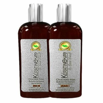 Sulfate Free with Aloe Keratin Cure Chocolate Brazilian Daily Shampoo Conditioner Travel Size 120 ml 4 fl oz