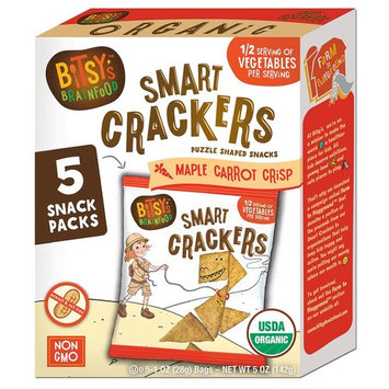 Bitsy's Multi-Pack Organic Smart Crackers, Sweet Maple Carrot, 5 Count Snackpacks, Healthy Organic Nut-Free Snacks with Fruits and Vegetables for Kids [Maple Carrot Crisp]