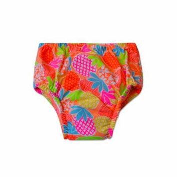 Swim Time Newborn Baby Girls Pineapple Juice Printed Side Snap Reusable Swim Diaper Bottom with Built
