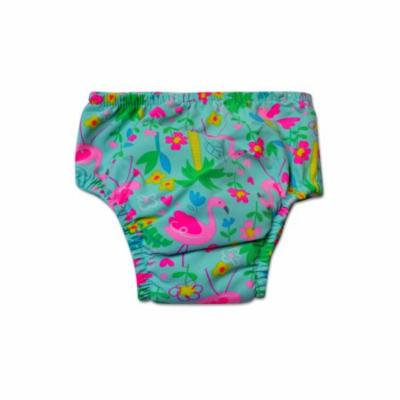 Swim Time Newborn Baby Girls Flamingo Garden Printed Side Snap Reusable Swim Diaper Bottom with Built