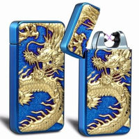 iMeshbean Blue Chinese Dragon Electric Dual Arc Flameless Rechargeable Windproof Lighter