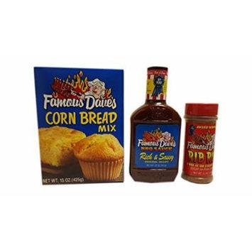 Famous Dave's BBQ bundle - (1) 15-Ounce Corn Bread (1) 5.5-Ounce Rub (1) 20-Ounce Rich & Sassy BBQ Sauce