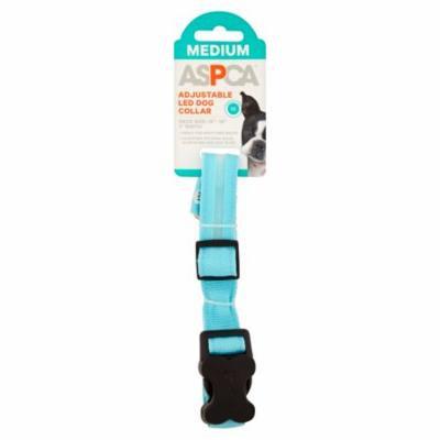 ASPCA Adjustable Led Collars Dog Collar, Medium, Blue