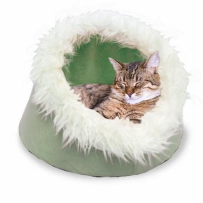 FurHaven Cave Fur-Trimmed Pet Bed Cat Bed