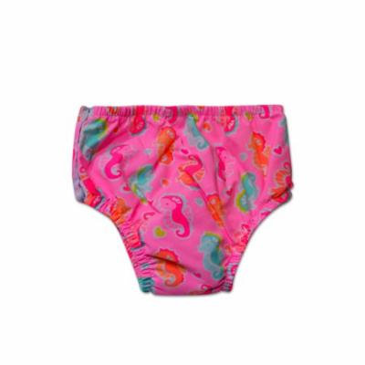 Swim Time Newborn Baby Girls Seahorse Fantasy Printed Side Snap Reusable Swim Diaper Bottom with Built