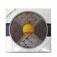 Treats & Sweets Gourmet Quality Assorted Kosher Chocolate Platter - Choclate Peanuts, Chocolate Covered Nuts ,& Covered Raisins, White & Rainbow Comes In Beautiful Gift Box Perfect For all Occasions