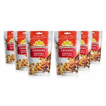 Sunshine Nut Company 'Spark of Spices' Cashews, Peanut Free, Gluten Free, GMO Free, 7 oz, Pack of 6