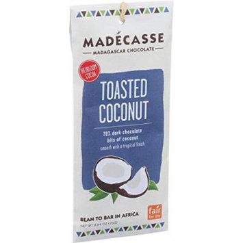 Madecasse Chocolate Bars - 63 Percent Dark Chocolate - Toasted Coconut - 2.64 oz Bars - Case of 10