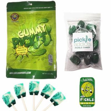 Deluxe Pickle Candy Sampler Gift Pack (4pc Set) - Dill Pickles Lollipops, Pickle Mints, Pickle Hard Candies & Gummy Pickle