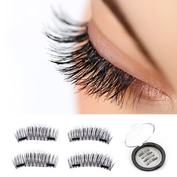 Magnetic eyelashes, New Dual Magnetic False Eyelashes - 1 Pairs (4 Pieces) Ultra Thin 3D Fiber Reusable Best Fake Lashes Extension for Natural, Perfect for Deep Set Eyes & Round Eyes