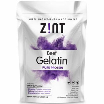 Zint Unflavored Gelatin Powder - Kosher Beef Gelatin - Pasture Raised 1 Lb