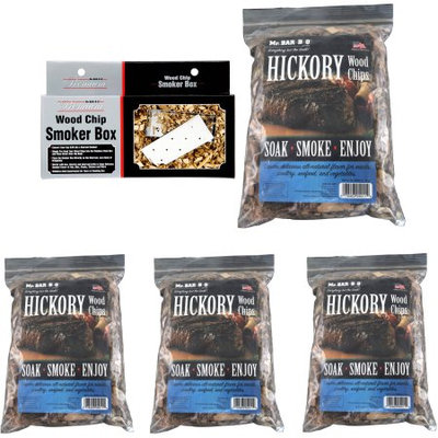 Mr. Bar-B-Q Wood Chip Smoker Box with Lid and 4 Bags of Hickory Chips