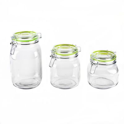 Blue Harbor 3-Piece Glass Canister Set with Green Clip Lids