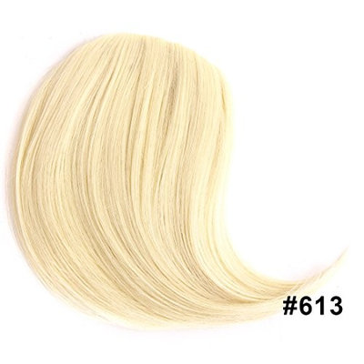 VELVEL Synthetic False Hair Bangs Side Swept Clip in Hair Bang Hair Extension Hair Piece (#613-Blonde)