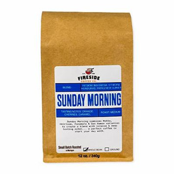 Fireside Coffee Sunday Morning Medium Roast Coffee Whole Beans Blend, 12 Oz Bag