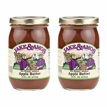 Jake & Amos Apple Butter, No Sugar Added - (2) 16 Ounce Jars