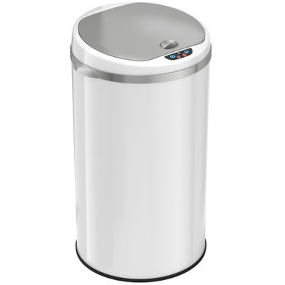 iTouchless Deodorizer 8-Gal Round Sensor Trash Can, Pearl White