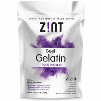 Zint Unflavored Gelatin Powder - Kosher Beef Gelatin - Pasture Raised 2 Lb