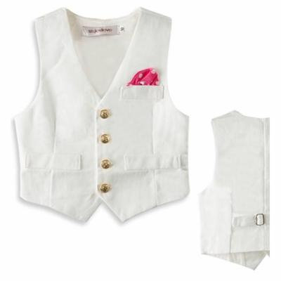 Stylesilove Baby Boy Faux Tie Gold Buttons Tuxedo Vest (3-4 Years, White)
