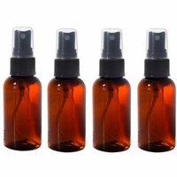 Amber 2 oz Boston Round PET (BPA Free) with Black Fine Mist Sprayer (4 Pack) + Labels