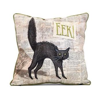 Apothescary halloween cat pillow - black and green- benzara