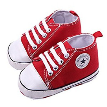 WAYLONGPLUS Infant Cute Canvas Sneaker Toddler Prewalker Anti-skid Soft Trainer Shoes (Red, Size 12)