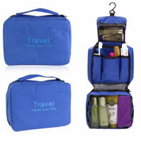 Portable Multi-function Waterproof Hanging Wash Bag Toiletry Bag Travel Cosmetic Bag Pouch Organizer (Blue)