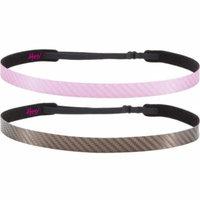 Hipsy 2pk Women's Adjustable NO SLIP WORKOUT Headbands Multi Gift Pack (Pink & Brown)