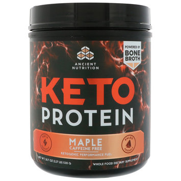 Dr. Axe / Ancient Nutrition, Keto Protein, Ketogenic Performance Fuel, Caffeine Free, Maple, 18.7 oz (530 g) [Flavor : Maple]
