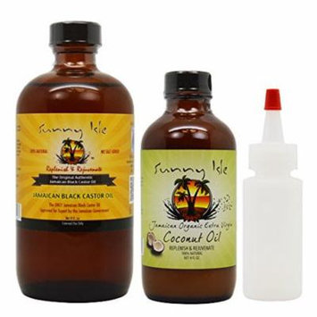 Sunny Isle Jamaican Black Castor Oil 8oz & Extra Virgin Coconut Oil 4oz w/ Applicator