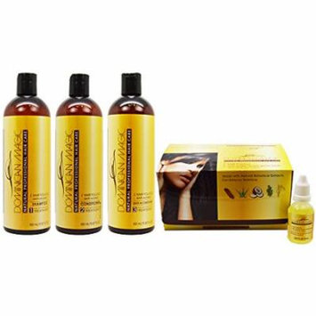Dominican Magic Hair Follicle Anti-Aging Shampoo & Conditioner & Leave-in (Smoothing Balm) 16oz & Scalp 12 Applications