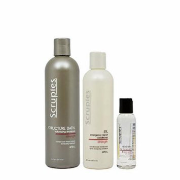 Scruples Structure Bath Volumizing Shampoo 12oz & ER Emergency Repair Conditioner 8.5oz & Renewal Hair Therapy Polish 2oz