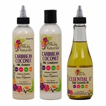 Alikay Naturals Caribbean Coconut Milk Shampoo + Conditioner + Essential 17 Hair Growth Oil 8oz