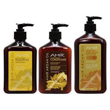 Amir Moisturizing Shampoo & Conditioner 12oz & Argan Oil Touch of Tan 18oz