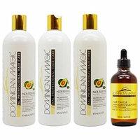 Dominican Magic Nourishing Shampoo & Conditioner & Moisture Lock Leave on & Anti-aging Scalp Drop 4.4oz