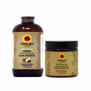 Tropic Isle Living Jamaican COCONUT Black Castor Oil & COCONUT Hair Food 4oz