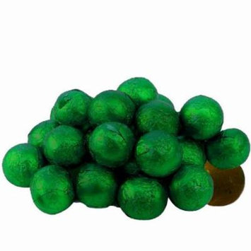 BAYSIDE CANDY MILK CHOCOLATE BALLS GREEN FOILED, 1LB