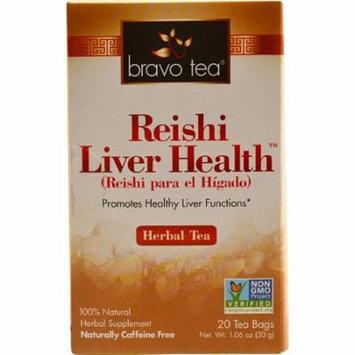 """Bravo Tea Reishi Liver Healthâ""""¢ Herbal Tea -- 20 Tea Bags pack of 4"""