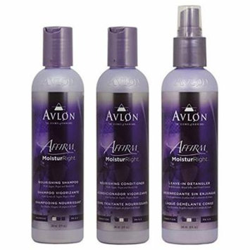 Avlon Affirm Moistur Right Nourishing Shampoo + Conditioner +Leave in Detangler 8oz