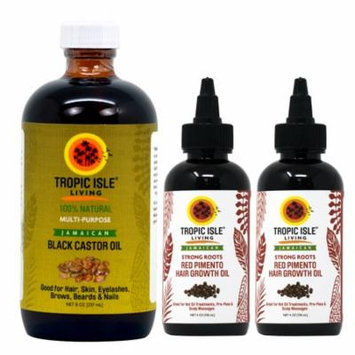 Jamaican Black Castor Oil 8oz & 2 Packs of Strong Roots Red Pimento Hair Growth Oil 4 Oz with Applicator