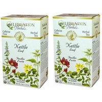 Celebration Herbals Organic Nettle Leaf Tea Caffeine Free, Feuilles Dortie -- 48 Herbal Tea Bags (2 packs of 24)