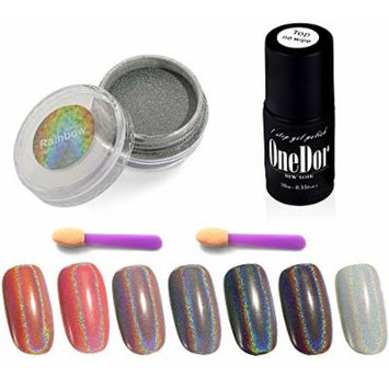 OneDor Rainbow Chrome Shinning Pure Holographic Manicure Pigment Nail Powder (Rainbow w/ No Wipe Top Coat)
