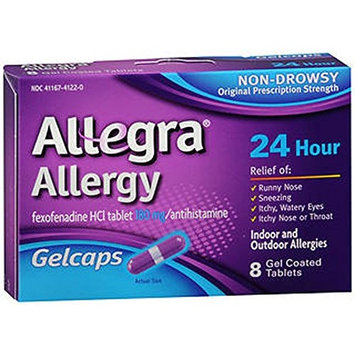 3 Pack Allegra Allergy Non-Drowsy Gel Caps 8 Gel Coated Tablets Each